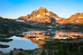 Thousand Island Lake and Banner Peak on the John Muir Trail in California.