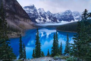 Moraine lake, a beautiful glacier-fed blue lake, is in Banff National Park in Alberta Canada.