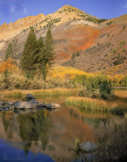 Autumn color decorates the hills near North Lake in the Eastern Sierra, California
