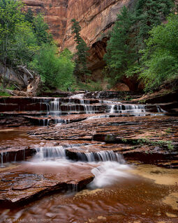Subway Falls is the beginning of the slot canyon that cradles the Left Fork of North Creek in Zion National Park.