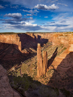 Spider Rock spire is a prominent feature in Canyon de Chelly National Monument, on Navajo land in Arizona.