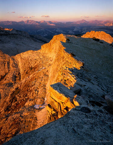 Mt. Hoffman ridge divided by sunset light in Yosemite National Park.