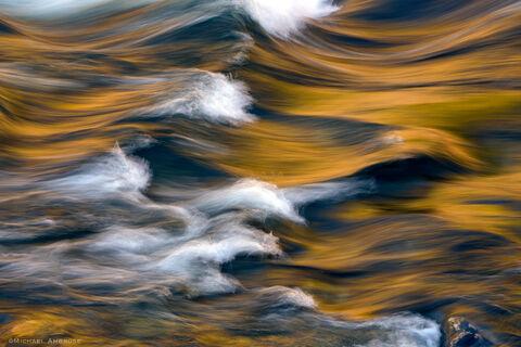 Golden light on the Merced River outside Yosemite National Park.