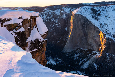 Winter Light on Horsetail Fall And El Capitan, Taken from Taft Point, Yosemite National Park.