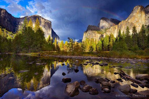 Reflections of El Capitan, Cathedral Rocks, and the Merced River come alive after a storm in Yosemite Valley, Yosemite National Park.