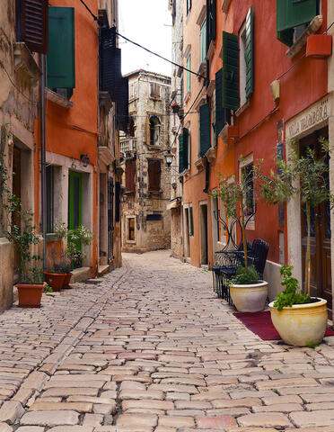 The historic district of Rovinj feels just as Italian is Croatian with its cobbled streets and colorful buildings.