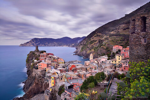 Brightly colored buildings help those at sea better identify their abode in this coast Italian village, Vernazza, one of the Cinque Terre.