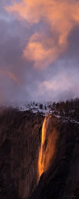 Alpenglow over Horsetail Falls