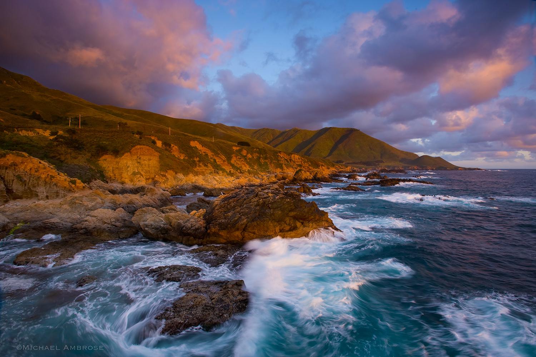 Sunset light on the California Coast