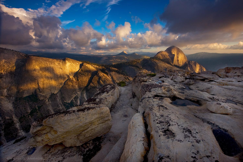 Unique photograph of half dome and quarter domes in Yosemite National Park.