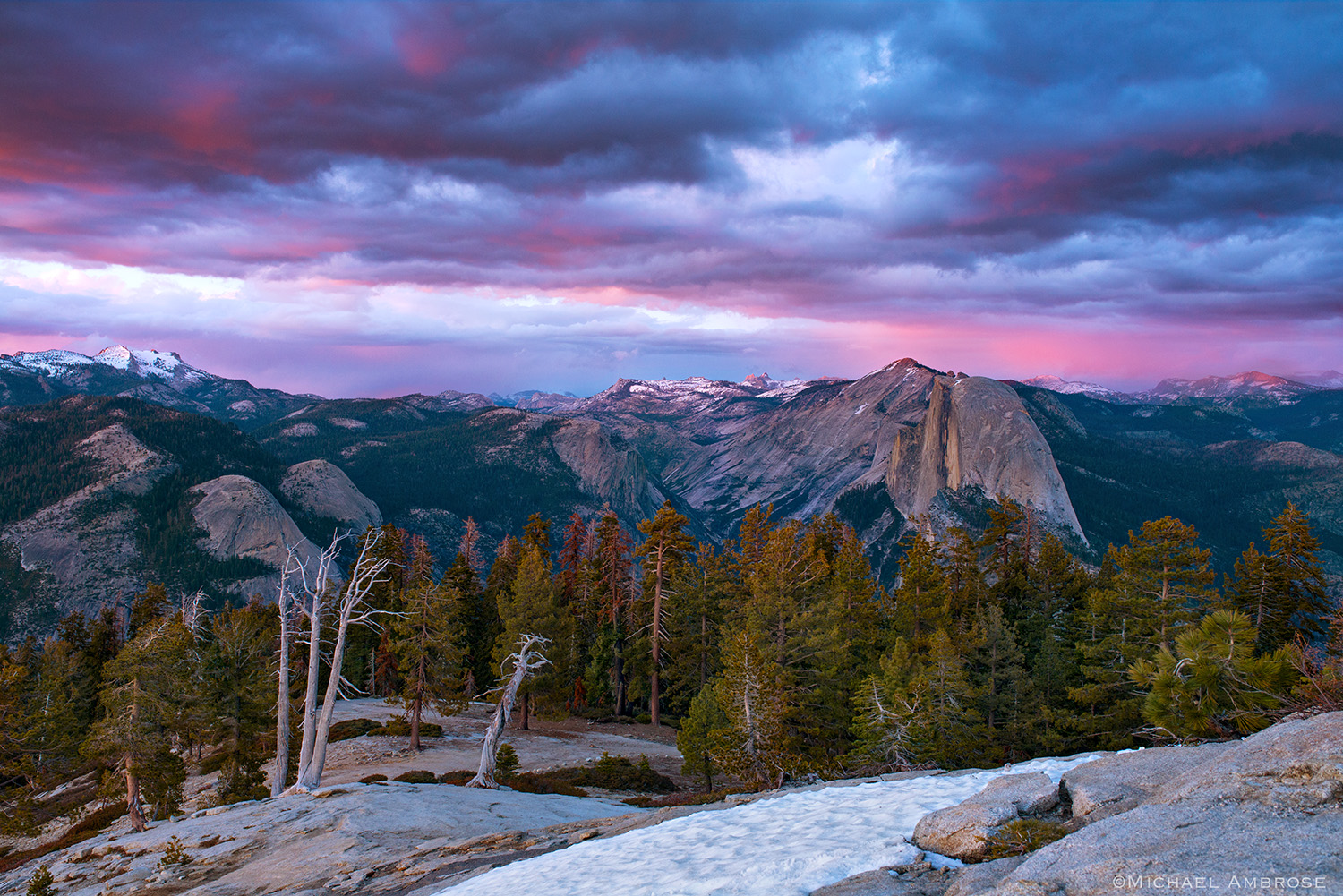 From Sentinel Dome one views the snowy Sierra Nevada crest, including El  Half Dome, all in Yosemite National Park.