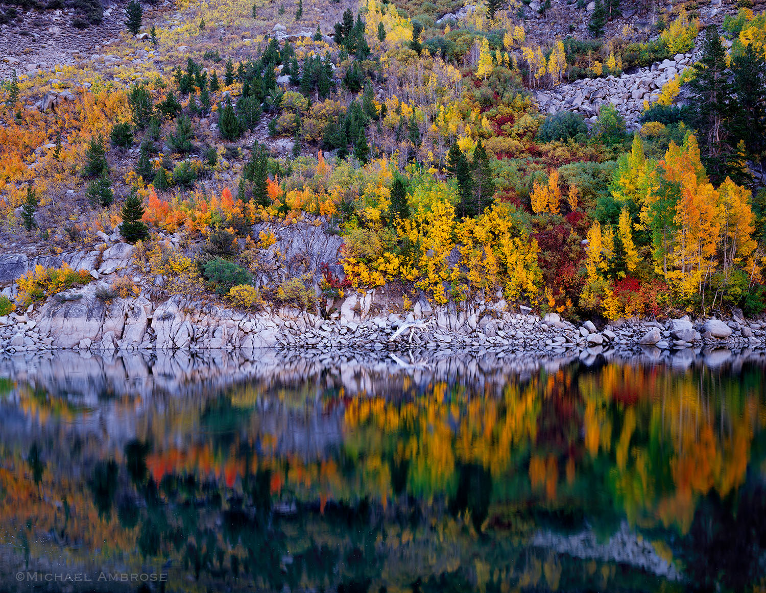 Fall Color speckles the shore and reflection in Lake Sabrina in the Eastern Sierra of California.